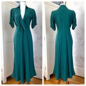 Zara green midi v neck linen dress